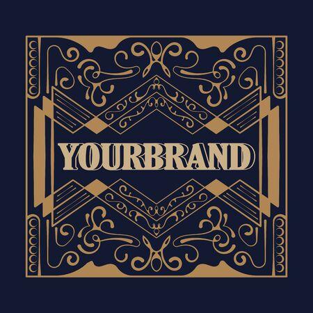 Antique label, vintage frame design, typography, retro template, vector illustration