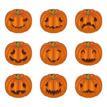 Halloween pumpkin faces. Pumpkin characters. Sad, creepy, angry, funny faces. Vector set in cartoon style.