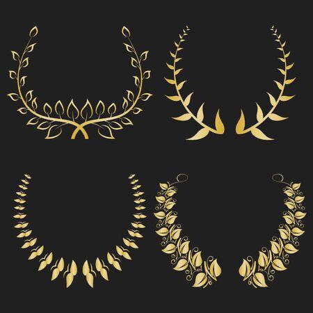 Set of wreaths, symbols of victory. Greek branch. Laurel wreath. Vector.