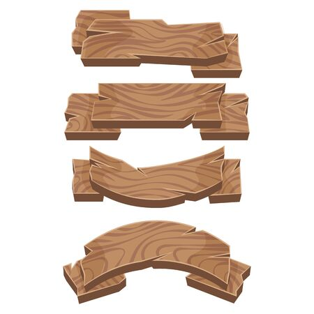 Set of wooden banners. Wooden ribbons pointers. Vector graphics.