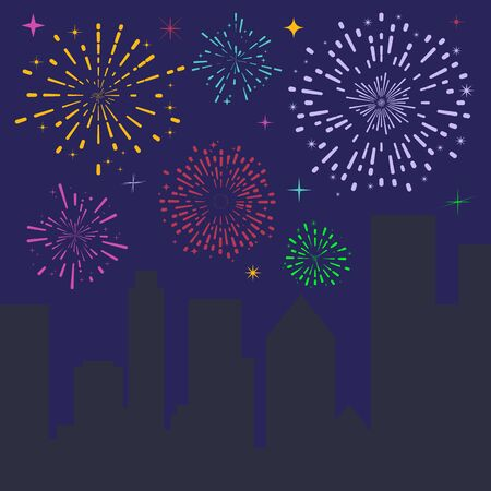 Firework celebration. Festive fireworks over the night city. Christmas and New Year holidays. Vector graphics.