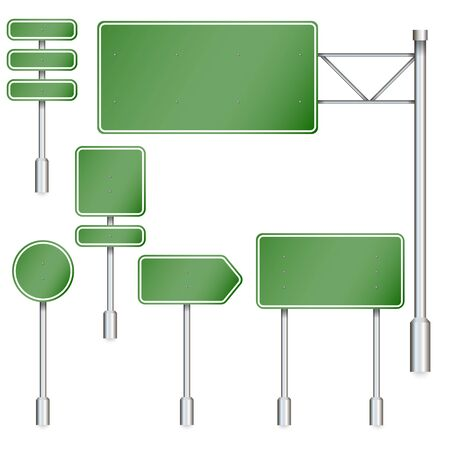 Set of green road signs. Road board. Direction sign on the highway. Vector image.