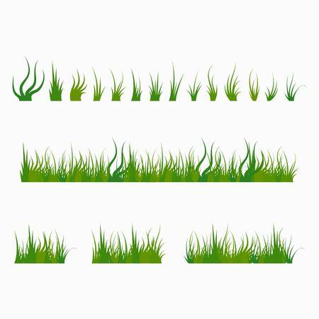 Set aus grünem Büschelgras, krautige Pflanzen. Gestaltungselemente lokalisiert auf weißem Hintergrund. Vektor-Illustration.