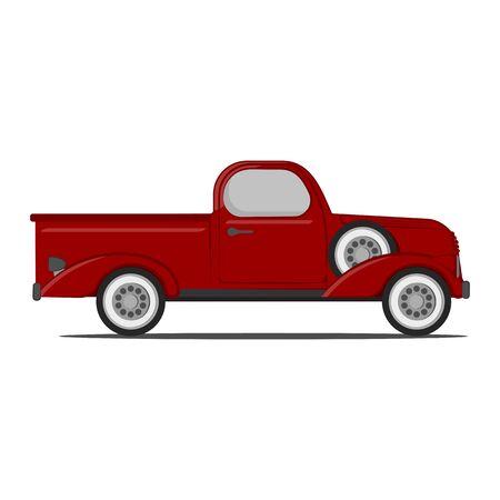 Classic red Retro pickup truck. Vector Illustration Ilustración de vector