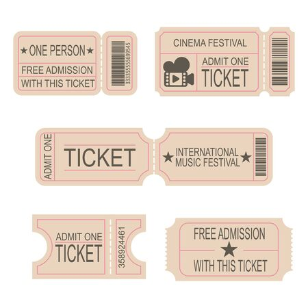 Modèles de billets. Billets pour le cinéma, le théâtre, le festival de musique. Coupon de loterie. Ensemble d'images vectorielles.