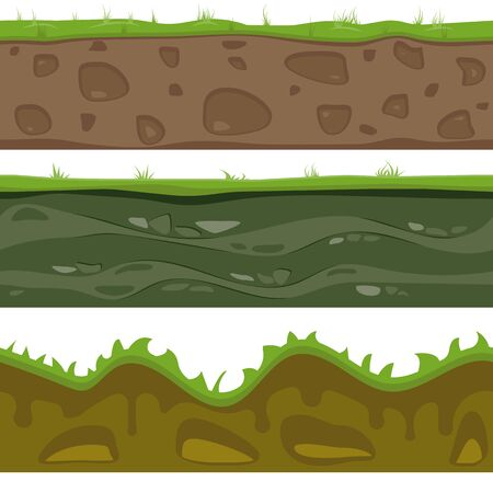 Soil seamless layers. Layer of soil with grass and stones. The texture of the cut soil. Vector graphics. Иллюстрация