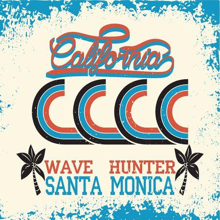 California surf wear typography emblem. Surfing t-shirt graphic design. Surfers print stamp. Creative design. Vector.