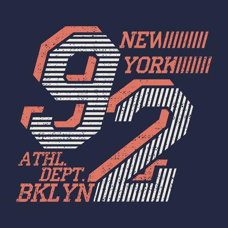 Typographie new-yorkaise, t-shirt vintage, design graphique, vêtement design original
