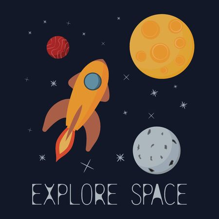 Explore space. Spaceship flying to the stars.T-shirt graphic. Vector. Ilustração