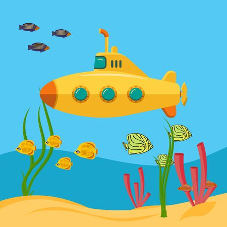 Yellow submarine, Underwater world. Expedition in the depths of the sea. Bathyscaphe with periscope. Flat cartoon style. Vector image.