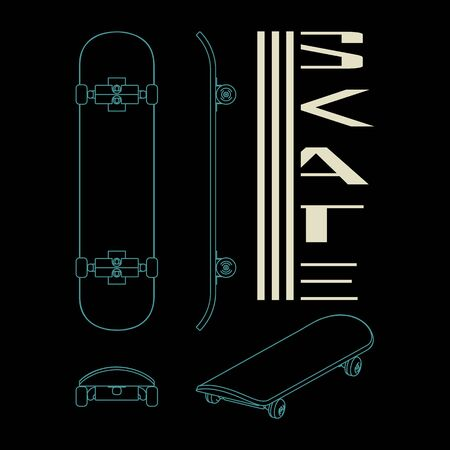Skate board t shirt design. Extreme sports. Free style. Vector image for t-shirts, typography or other uses.