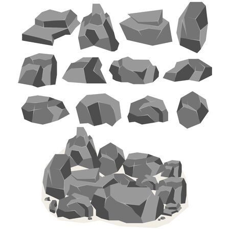 A set of cartoon stones and rocks in an isometric 3d style. A set of various boulders. Video Game - stock vector Vector Illustratie