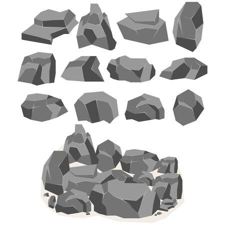Un ensemble de pierres et de roches de dessin animé dans un style 3d isométrique. Un ensemble de divers rochers. Jeu vidéo - Vectoriels Vecteurs