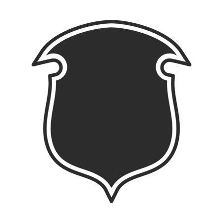 Shield with contour. Safe and protect logo. Fully editable vector image.