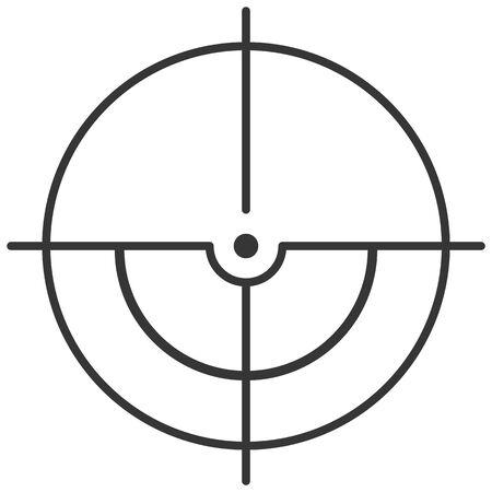 Sights for a sniper rifle. Targets destination. Cursor, label, apple, front sight. Vector image. Vetores