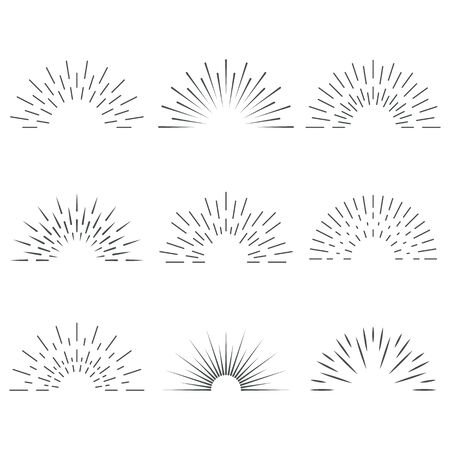 Sun rays. Sunrise. Sun shine. Borders for banners, logo, emblems. Vector.