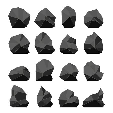 Rock stones in a flat style. Vector set of various cobblestones, boulders, gravel.