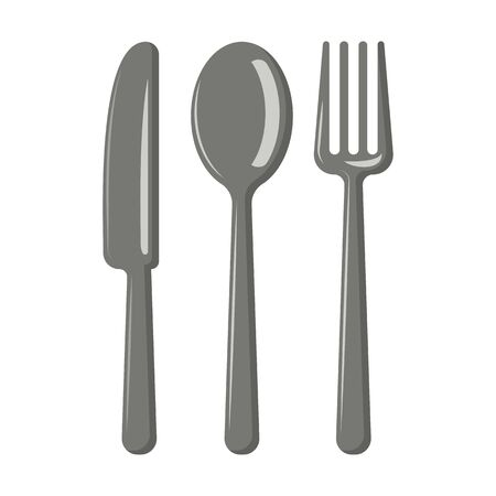 Cutlery. Knife, spoon, fork. Vector graphics.