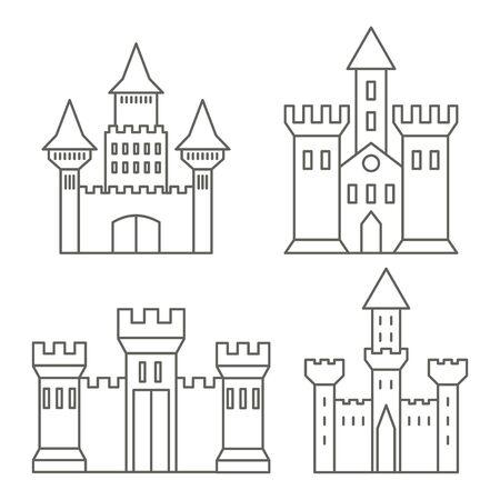 Medieval castles linear icons. Fortress, mansion. Vector graphics. Ilustração