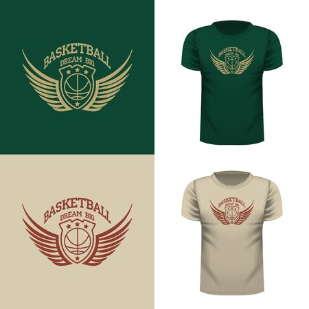 Basketball t-shirt illustration. Sports typography, t-shirt graphics. Vector.