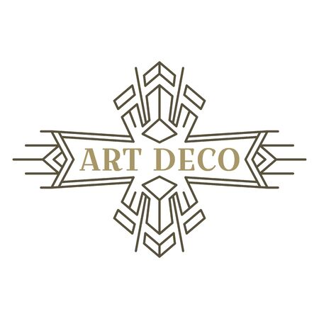 Art deco logo. Vintage label design. Retro badges. Vector image. 向量圖像