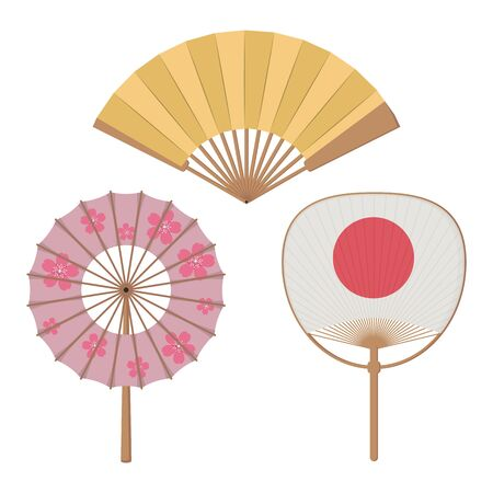 A set of fans. The subject of oriental culture, Asian traditional accessories. Vector graphics.