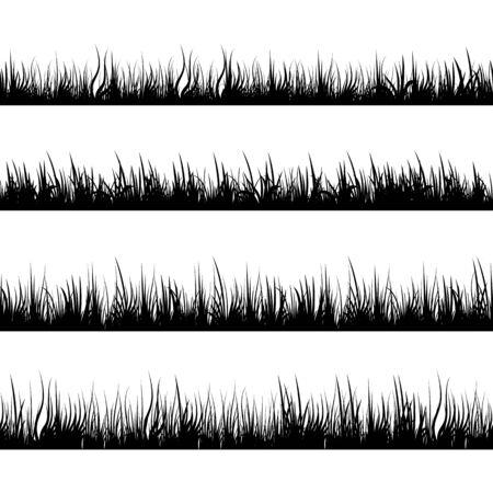 Grass silhouettes. Meadow landscape. Panorama black plants. Vector set.