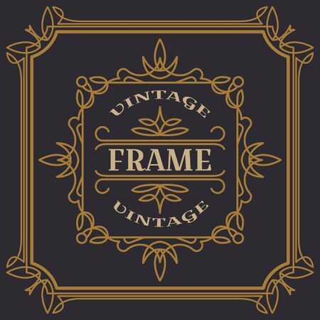 Vintage frame template vector illustration. Wedding invitations, border for greeting
