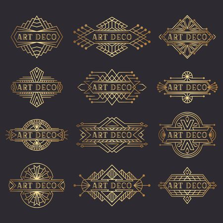 Art deco logo. Vintage label design. Retro badges.  Decorative frames labels in retro style. Set of vector images.