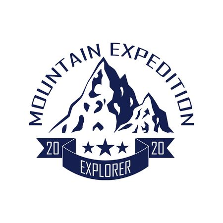 Mountain camping badge template. Outdoor adventure mountains. Vector design element.