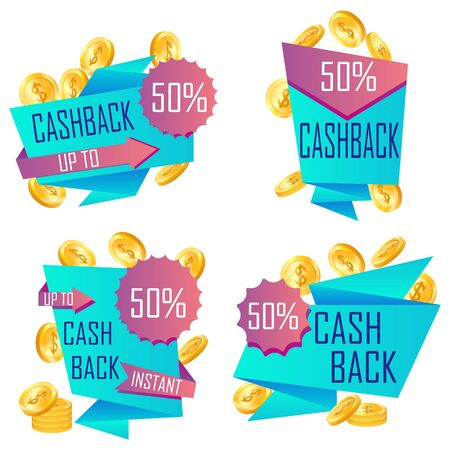 Cashback label. Return money from purchases and payment. Cash back deal. Symbol of sale. Vector.