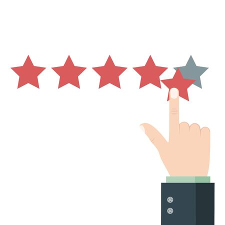 Five star rating. Customer feedback on product quality. Best result. Good service quality. Reputation company. Vector.