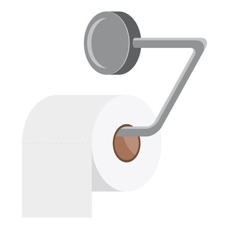 Toilet paper roll holder. White roll of toilet paper. Steel tissue paper dispenser. Hank of toilet paper. Vector illustration in flat style. 向量圖像