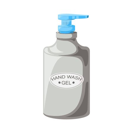 Hand wash gel. Liquid antibacterial soap. Disinfectants. Hygiene. Vector illustration in a flat style.