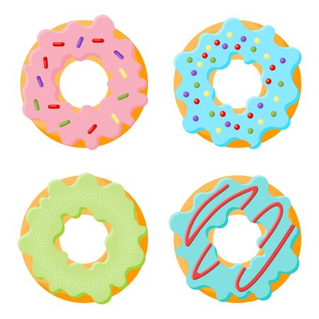 Cartoon colorful glaze donuts. Top View Doughnuts. Menu design, cafe decoration. Vector illustration in flat style.