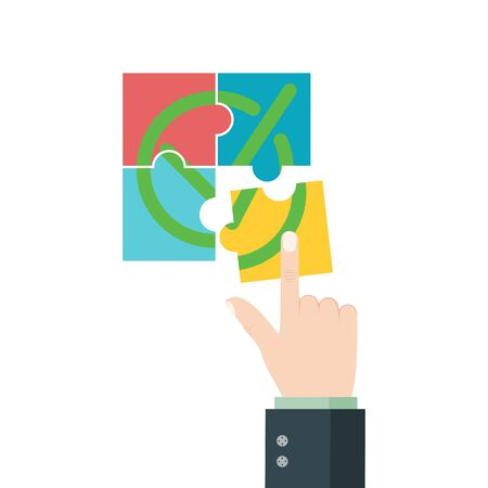 Completion mission. Businessman connect the pieces of jigsaw puzzle. Successful work. Vector illustration in flat style.