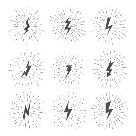 Striking electricity thunder bolt. Retro shock lightning. Set of vector images.