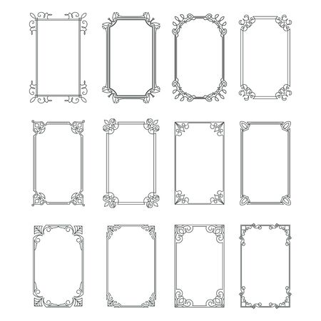 Set of vintage rectangular ornate ornaments. Retro decorative frames. Wedding frames. Vector illustration. 向量圖像
