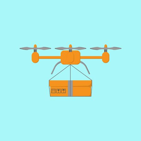 Drone with a cargo. Delivery service. Transportation concept. Vector flat illustration.