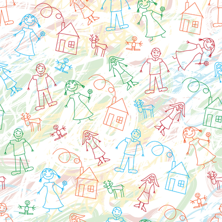Vector background wih simple children pen art. Linear wallpaper for decoration, wrapping and textile