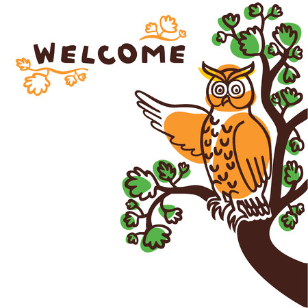 Hand drawn owl character pointing at welcome sign. Cute vector illustration of a bird sitting on a branch of a tree Illustration