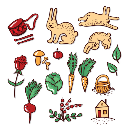 Vector set of objects that rabbit loves: vegetables, forest berries and mushrooms Illustration