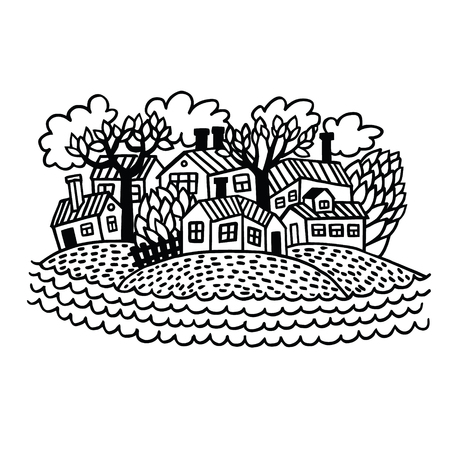 hamlet: Hand drawn sketch of a small village on the riverside. Cute vector illustration of cozy little town