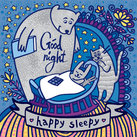 Stunning card with cute rabbit in the cradle, bear and cat singing a lullaby. Awesome background with stars and flowers in cartoon style in vector. Vector Illustration