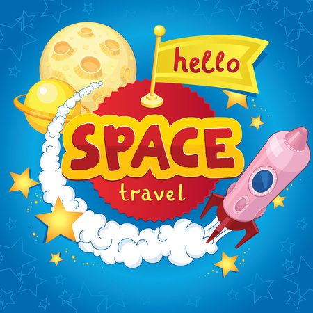 hi speed: Awesome card with a launching rocket, planets, stars and hello flag in cartoon style. T-shirt, bag design, poster, greeting card illustration or a wall sticker for childrens room