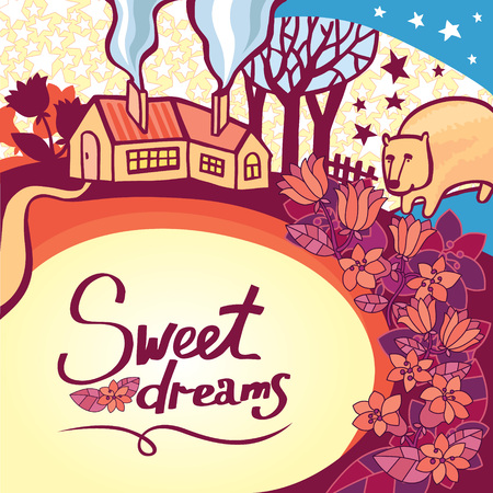 Awesome greeting card for darling sleepyhead. Bright romantic card with a cozy house. Vectores