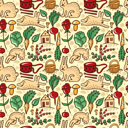 cowberry: Summer motif with rabbits, vegetables, berries, mushrooms. Vector illustration for corporate identity of grocery shop or vegetarian cafe