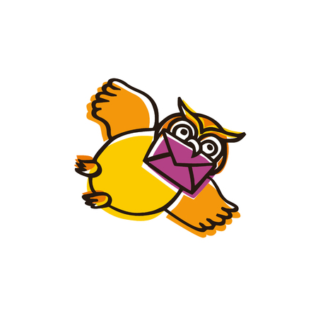 ?artoon owl character can be used as a logo or an icon for contact information at website