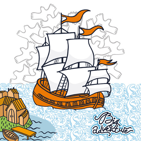 adventurers: Funny hand drawn card of the ship with white sails landing in the bay. Bright illustration in vector for travellers and adventurers