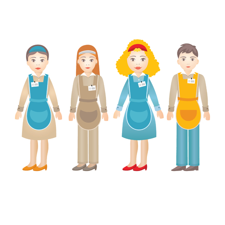 Set of diverse shop assistants isolated on white for marketing presentation or infographic Illustration